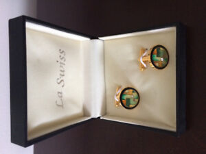 La Swiss cufflinks, brand new, enamel & crystal