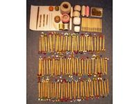 Lace Making Equipment - bobbins, cushions, thread, pins, books (see other photos)