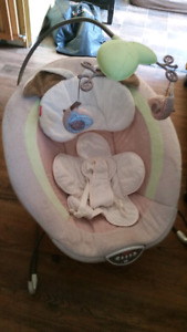 Baby swing, bouncy chair, and play mat
