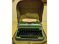 Vintage Imperial Good Comppan Typewriter In Original Brown Leather Case 1950 60s Free P&P