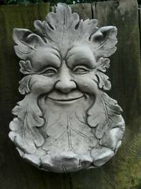 Green man bird feeder wall plaque in cast stoneware
