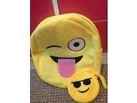 Emoji style soft backpack and purse