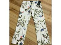 Zara floral cigarette trousers