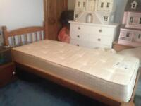Solid Pine Single Bed With/Without Mattress