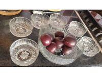 Glass bowls set - 1 big and 6 small