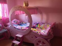 Girls Princesss Carraige bed - Stunning Pink with mattress Cost £400 Sell £65 **FREE PINK DRAWERS**