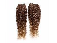 """Kinky Curly Afro Hair Weave -2×22"""" Dark Golden and Light Blonde Ecaille"""