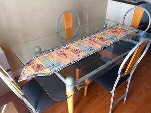 Glass Top Dining Room Table Set