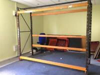 Warehouse pallet racking. Heavy duty Orange beams