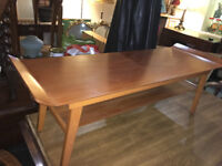 Delightful Vintage Retro Danish Style Two-Tier Teak Curved Coffee Table
