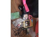 Pink electric guitar and amp set