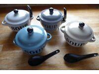 4 lovely soup bowls