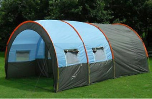 Tunnel tent for 8 to 10 people. Family size tent. Waterproof.