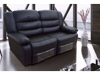 EDWARD LUXURY 3&2 BONDED LEATHER RECLINER SOFA SET WITH DRINK HOLDER - ***FREE DELIVERY***