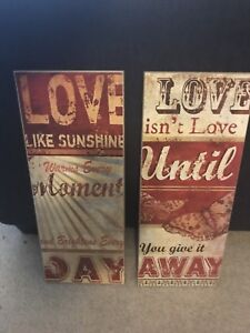 Set of two wooden wall art
