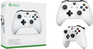 White Xbox One Controller + Xbox Wireless Adapter for PC.