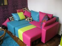 NEON VEGAN SOFA BED EVERYDAY USE BESPOKE STORAGE FAB CAMP AUTISTIC KIDS CORNER