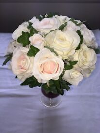 Silk rose wedding bouquets bride bridesmaid