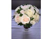 Silk rose wedding bouquets bride bridesmaid