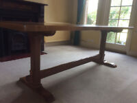 Solid oak refractory table 7ft long 2ft 8 3/4 wide