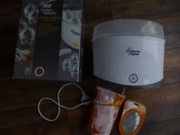 Tommee Tippee Electric Steriliser, + food pouches/ spoon set