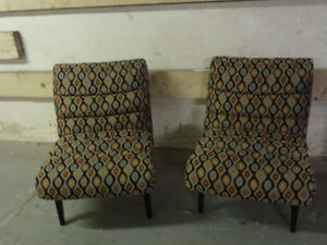 2 Vintage Reupholstered Slipper Chairs
