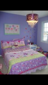 Quilt and pillow shams- for a double bed- & Canvas Art work