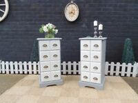 PAIR OF SOLID PINE FARMHOUSE CHEST OF DRAWERS PAINTED IN PALE DOVE AND FRENCH GREY COLOUR