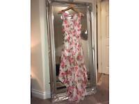 STUNNING dip hem Floral Maxi Open back dress SIZE 10