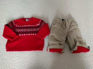 Tommy Hilfiger Sweater and Baby Gap Fleece Lined Khakis