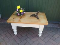 Solid chunky pine painted coffee table
