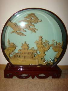 Asian Round Carved Cork Diorama