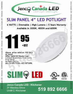 "4"" - SLIM LED POT LIGHT 6W- 5 years Warranty ETL Certified"