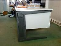 4 two-tone grey office desks. Sturdy, stable and a snip at the price