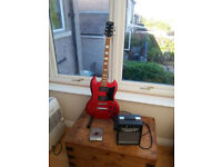 Gibson SG copy and Practise Amp plus Zoom Effects Pedal