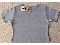 Women's Clothing Grey Cropped Short Sleeve T-Shirt Size Large BNWT