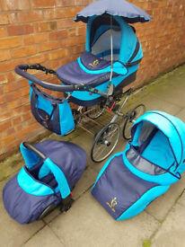stroller 3-1 blue still very good condition
