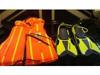 FREE: Childs life jacket & flippers