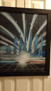 Tron Inspired Original Spray Painting with frame - Mint Conditio