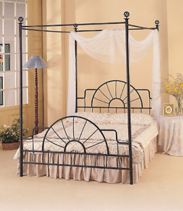 Black four poster Queen size bed frame