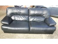 Leather 3 Piece Suit and Pouffe / Footstool