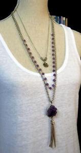 New 3 strand Amethyst gemstone necklace