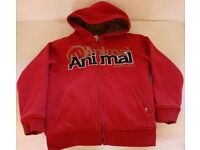 Boys' Animal zipped hoodie jacket, red, 9 - 10 years (size BS)