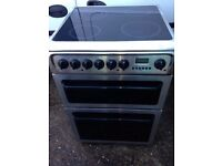 £128.00 Hotpoint sls/black ceramic electric cooker+60cm+3 months warranty for £128.00