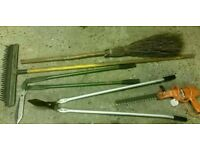 Selection of Garden Tools (Rake/Besom Broom/Edge Trimmers/Hedge Trimmer