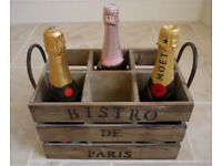 New Shabby Industrial Chic Rustic wooden wine bottle holder crate