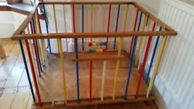 Vintage child's 1970's wooden playpen folds up for transporting/travel