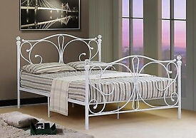 Brand New 4ft6 Double White Metal Bed Frame With Crystal Finials