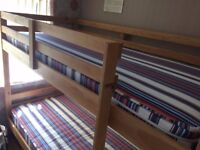 Bunk Beds - Wood - full size two mattresses - hardly used - £115
