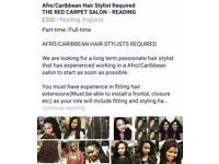 Afro Caribbean Hairdresser to join our team
